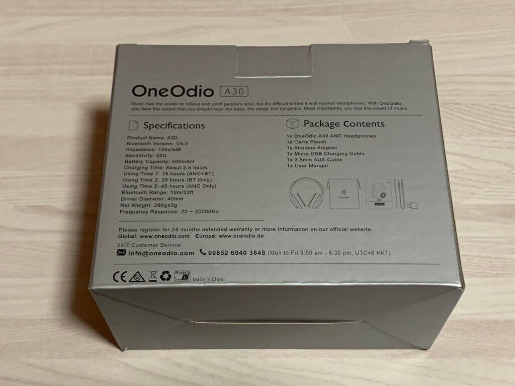 OneOdio A30 パッケージ裏面